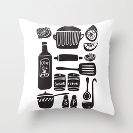 Kitchen Utensils in Black and White Throw Pillow