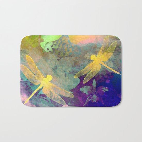 Yellow Dragonflies Bath Mat