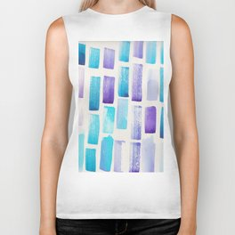Stripe Purple Blue  | 190213 Watercolour Abstract Painting Biker Tank