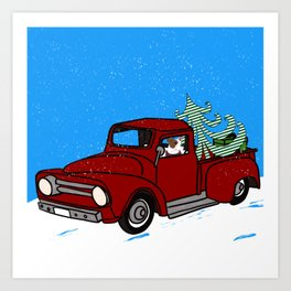 Pit Bull In Old Red Truck With Whimsical Christmas Tree Art Print