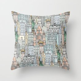 New York watercolor Throw Pillow