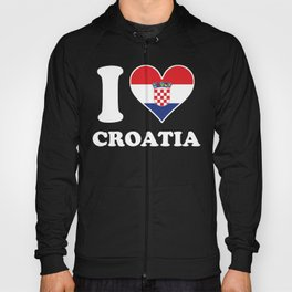 I Love Croatia Croatian Flag Heart Hoody