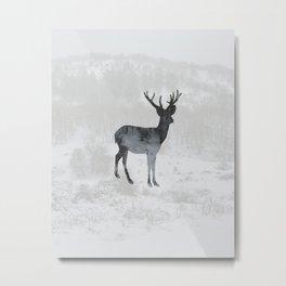 Snowing Deer Metal Print