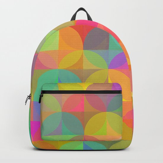 Vibrant Plaid and Circle Pattern Backpack