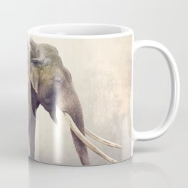 Double exposure of elephant and palm trees at sunset Coffee Mug