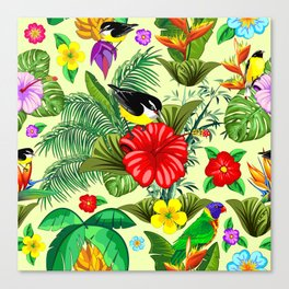 Birds and Nature Floral Exotic Seamless Pattern Canvas Print
