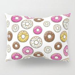 Donut Pattern - White Pillow Sham