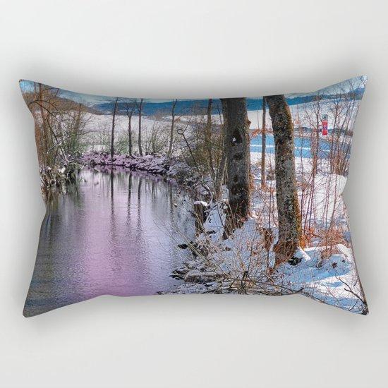 Quiet river in winter time Rectangular Pillow