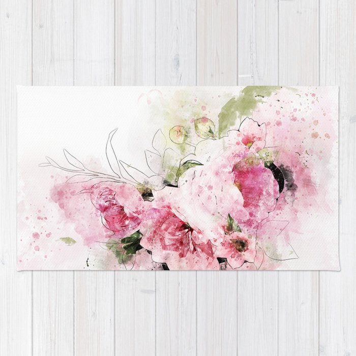 Abstract pink flower illustration. Watercolor, ink and digital painting of pink flowers. Rug