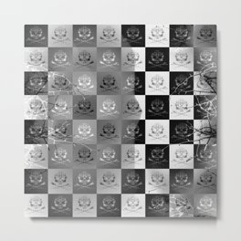 Branching Into Darkness: Bitter Techno Skulls-Checkers Metal Print