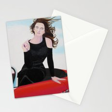 Re-Created Girl in Porsche 356 by Robert S. Lee Stationery Cards