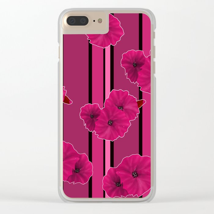 Floral pattern on striped background Clear iPhone Case