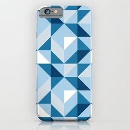 Mid Century Modern Half Square Triangles Winter Blue iPhone Case