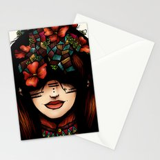 The girl who was thinking about geometry & red flowers Stationery Cards