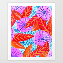 Circles and Leaves Pattern Art Print