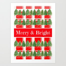 Merry and Bright Trees Art Print