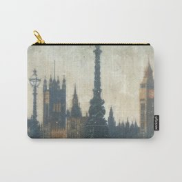 London Vintage skyline view of Westminster Abbey and Big Ben, painting from Victorian era Carry-All Pouch