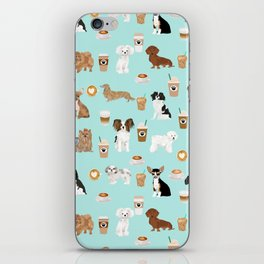 Coffee Dogs cute miniature dog breeds chihuahua bichon terrier Shih tzu pomeranian latte coffees iPhone Skin