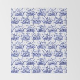 Blue Chinoiserie Toile Throw Blanket