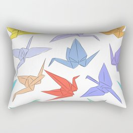 Japanese Origami paper cranes symbol of happiness, luck and longevity Rectangular Pillow