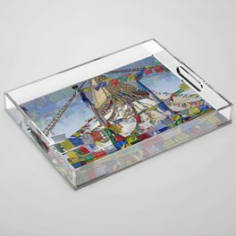 NEPALI PRAYERS CARRIED BY THE WIND FROM FLAGS Acrylic Tray
