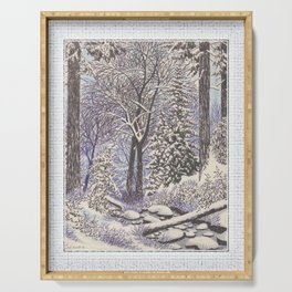 SNOWY WOODLAND BLACK AND BLUE PEN DRAWING Serving Tray
