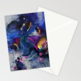 Contemporary Abstract Art in Blue and Yellow Stationery Cards