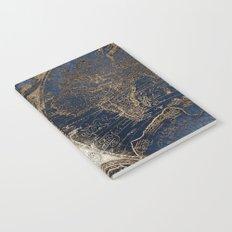 World Map Deep Blue and Gold Notebook
