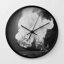 Hindenburg in flames Wall Clock