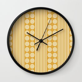 Geometric Golden Yellow & White Vertical Stripes & Circles Wall Clock