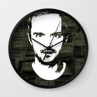 "jesse pinkman Wall Clocks featuring Jesse Pinkman ""Mad Stacks Yo"" by Kirk Shelton"