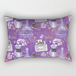 Fashion Victim - Paris France Elegance Shopping Girly in pink and purple Rectangular Pillow