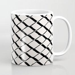 Modern Diamond Lattice 2 Black on Light Gray Coffee Mug