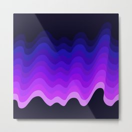 Ultraviolet Retro Ripple Metal Print