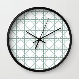 Mint White Argyle Wall Clock