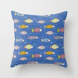 sea fish blue submarine animals Throw Pillow