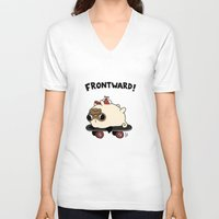 pug V-neck T-shirts featuring PUG. by Jarvis Glasses