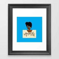 Postcard Woman Blue Framed Art Print