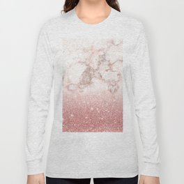 Elegant Faux Rose Gold Glitter White Marble Ombre Long Sleeve T-shirt