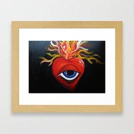 Heart exploding Framed Art Print