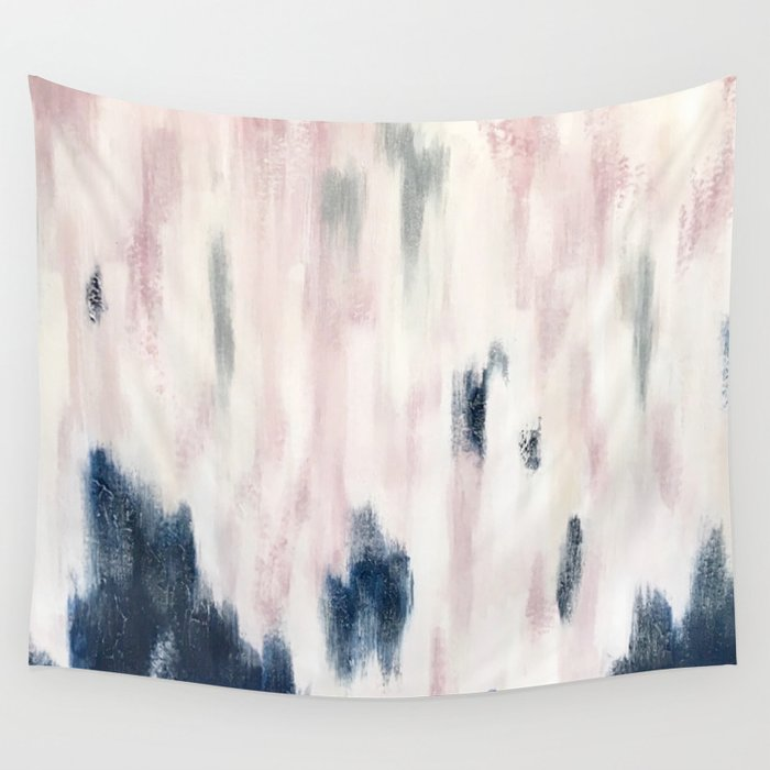 Blush Pink and Blue Pretty Abstract Wall Tapestry