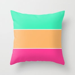 Color Brite: Teal + Orange + Pink Throw Pillow