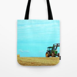 Tractor and Hay Roll on the Ridge Tote Bag