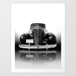The 1940s classic Cadi - Black and white vintage car photo Art Print