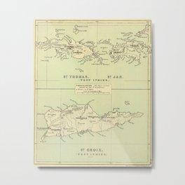Vintage Map of The Virgin Islands (1853) Metal Print