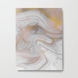 Space Marble Gold Metal Print