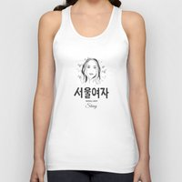 seoul Tank Tops featuring Seoul lady by uzualsunday
