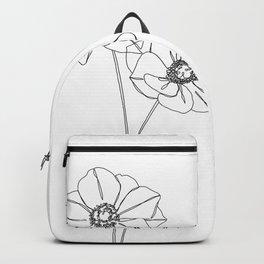 Botanical illustration line drawing - Anemones Backpack