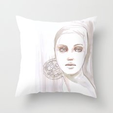 Fade fashion illustration portrait Throw Pillow