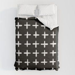 Plus sign black and white Comforters